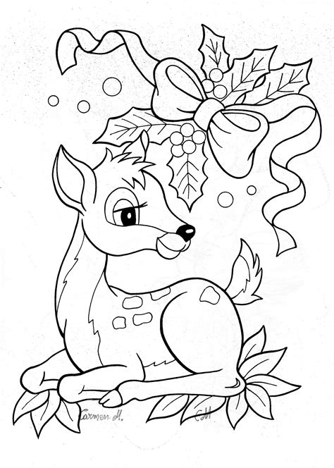 winter deer coloring page colour it sew it trace it etc christmas bambi deer