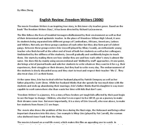 Media Studies Essay by Review Of Quot Freedom Writers Quot Gcse Media Studies Marked By Teachers