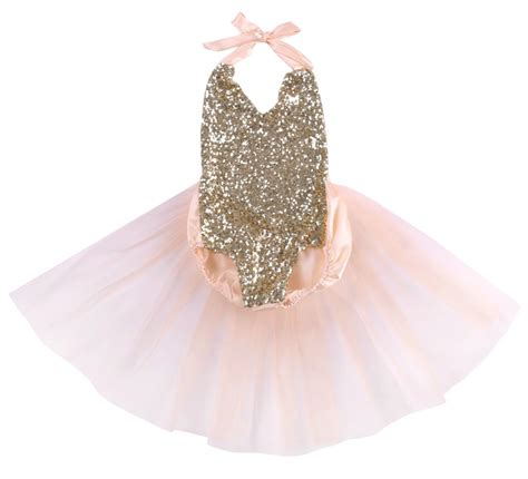 Baby Pink Gold Amalie Pale Pink And Gold Sequin Baby Romper With Tulle