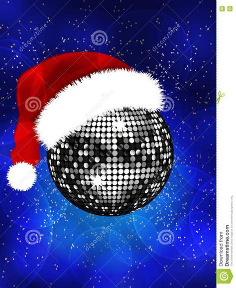 christmas disco ball with santa hat stock illustration