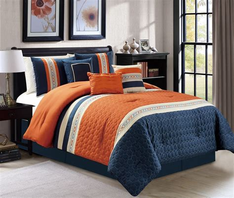 Orange And Navy Bedding by New 7 Pc Cal King Size Honeycomb Quilted Orange Navy Ivory