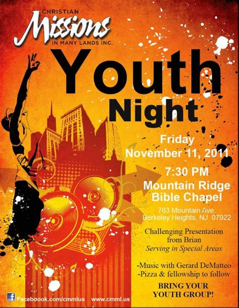 Youth Night Cmml Christian Missions In Many Lands Youth Flyer Templates