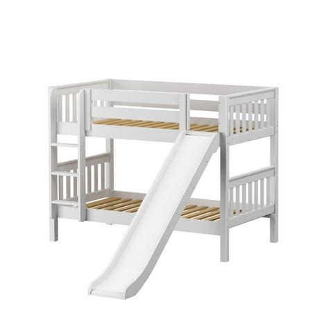 White Bunk Bed With Slide Maxtrixkids Smile Ws Low Bunk Bed With Ladder And Slide White Slat