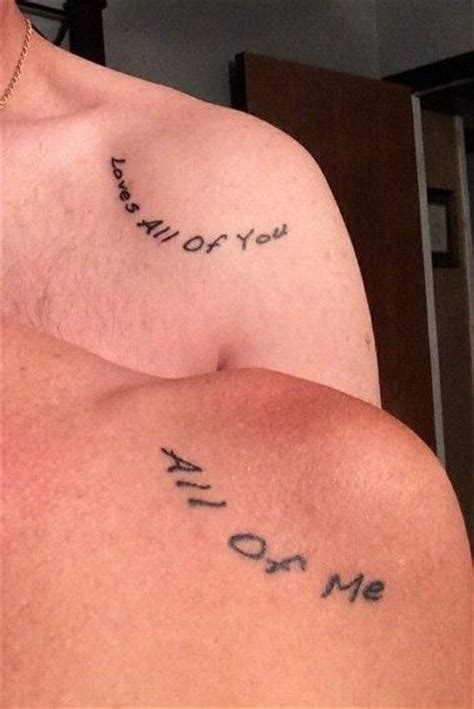 tattoo on shoulder lyrics his and hers shoulder tattoo me and my guy all of me