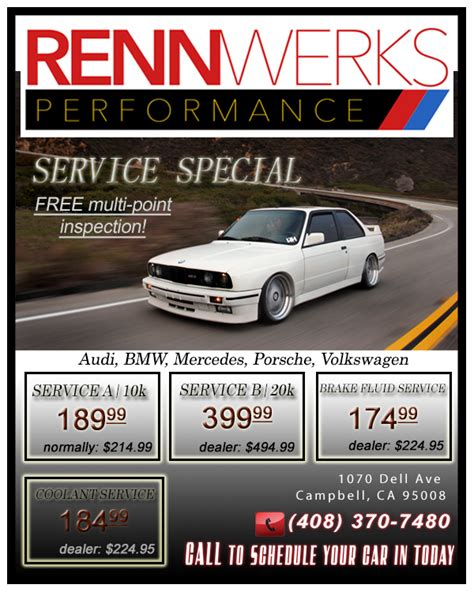 audi service specials coupons discounts on car repair service rennwerks