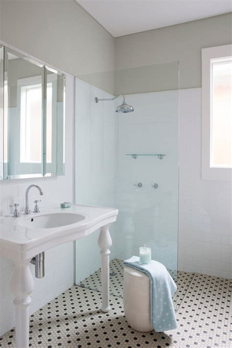 open shower transitional bathroom ici dulux winnow horton and company