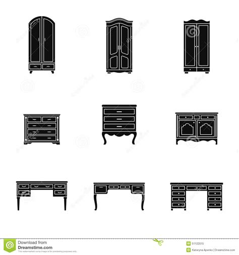 Wardrobe Symbol by Set Of Cabinet Wardrobe And Writing Table Icons Stock Illustration Image 51122015
