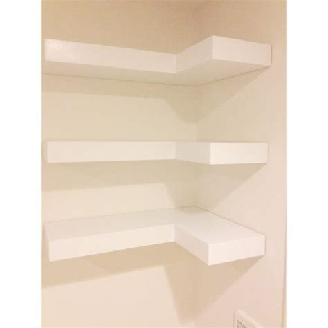 white floating corner shelves set of three by