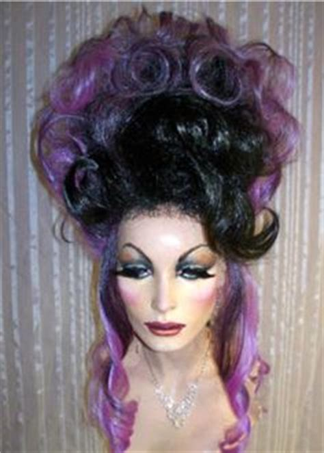 wigs updos big drag queen wig teased big long black big heavy bangs curly