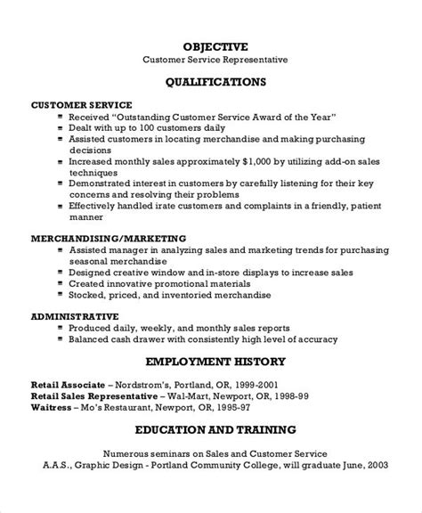 Sle Resume Of Customer Service Representative Objective sle resume for customer service representative in retail