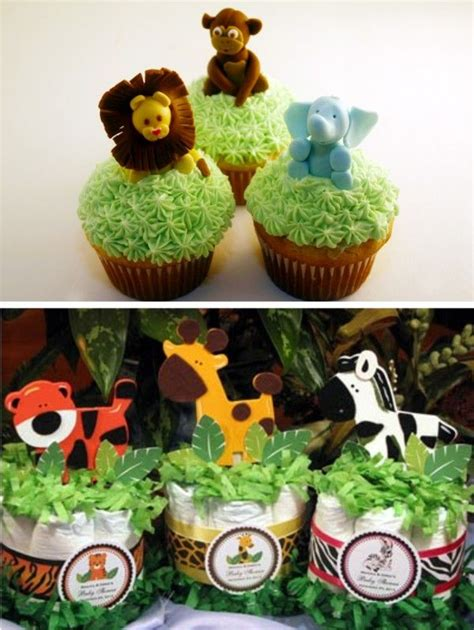 jungle baby shower cupcakes safari animal cupcakes centrepiece ideas