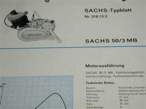 Sachs Motor Technische Daten by Sachs 50 3 Mb Technisches Datenblatt Motor Ebay