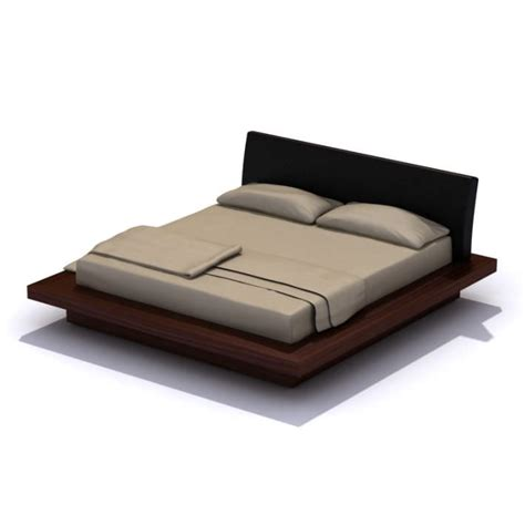 modern wood platform bed modern dark wood platform bed 3d model cgtrader com