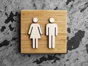 Modern Bathroom Signs Square Bamboo Unisex Restroom Sign Spa Or Salon Signage