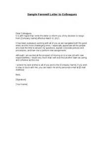 Farewell Letter To Colleagues Template by Sle Farewell Letter Hashdoc