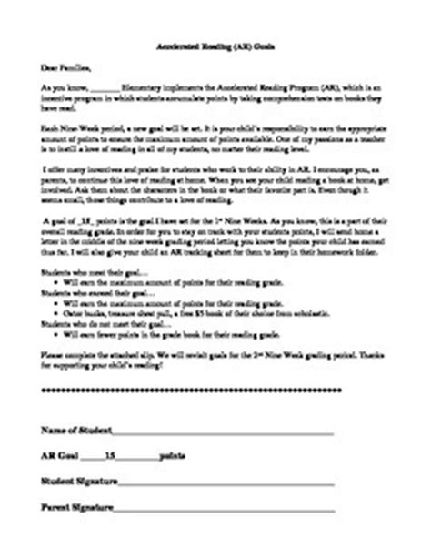 Parent Letter Explaining Accelerated Reader Accelerated Reader Goal Letter To Parents By Miss Fryou Tpt