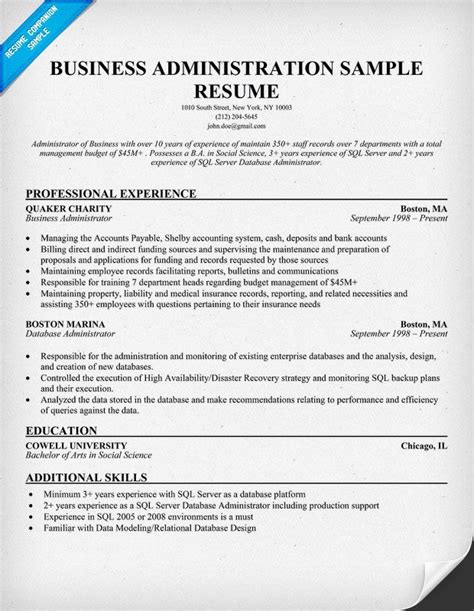 how to write a business administration resume