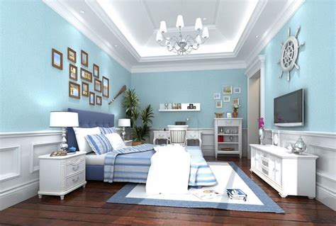 light blue wallpaper for minimalist bedroom decoration