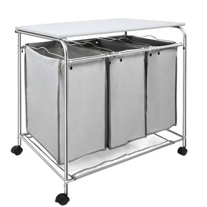 Buy 3 Compartment Laundry Cart Basket Trolley With Iron 3 Compartment Laundry