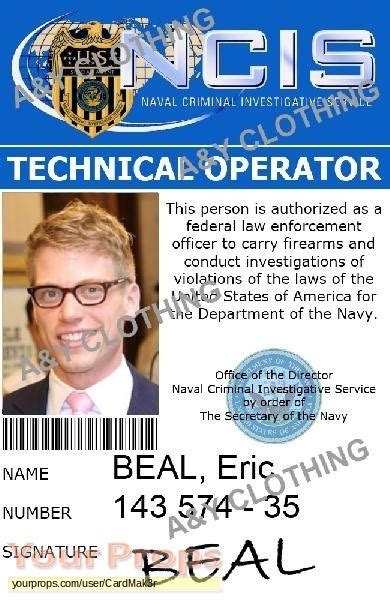 prop id card template ncis los angeles id card ncis la eric beal replica tv
