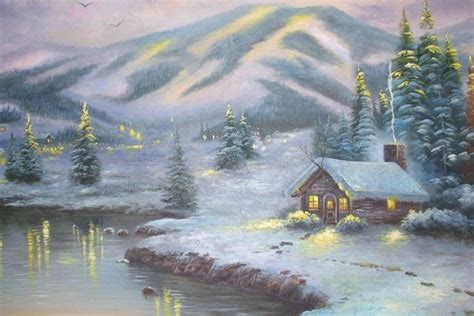 thomas kinkade christmas backgrounds wallpapertag
