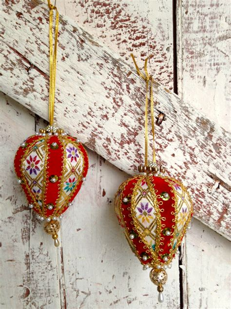 Handmade Ornament - vintage handmade tree ornament sequins ribbons