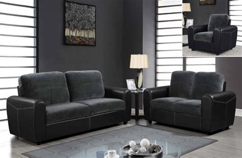 Contemporary Two Toned Leather And Microfiber Upholstered Cheap Sofa Sets