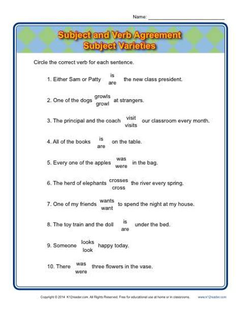 Subject Verb Agreement Worksheets With Answers by 2nd Grade Subject Verb Agreement Worksheets Abitlikethis