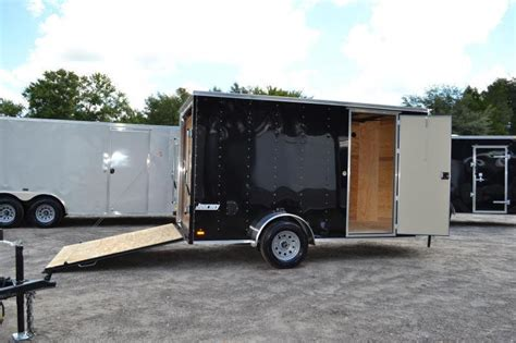 current inventory utility single axle used 6x12 utility trailer wgate 6x12 pace american enclosed trailer black