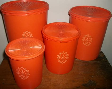 Tupperware Canister Set Tupperware Orange Canister Set Of 4 By Junkydory On Etsy