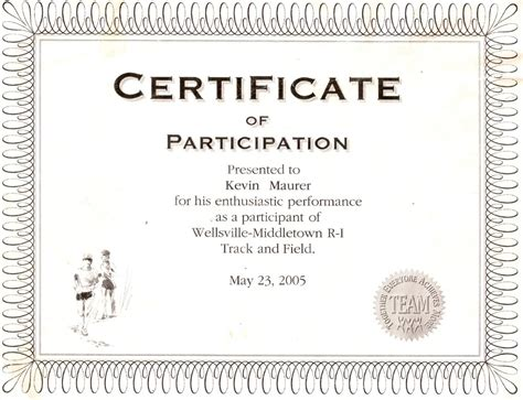 sample certificate participation format awesome free choir