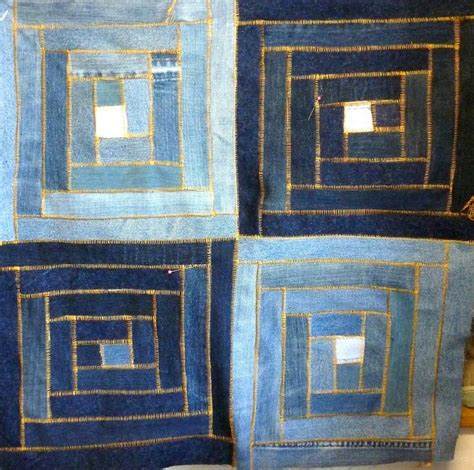 Denim Patchwork Quilt - i denim denim logcabin patchwork simplesmente