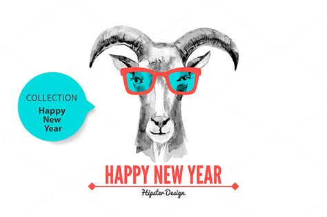 happy new year goat goat happy new year cards illustrations on