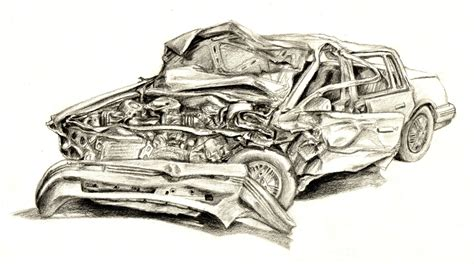 wrecked car drawing crashed car by vicotnic on deviantart