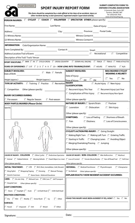 injury report form template sle injury form templates to templates free sle