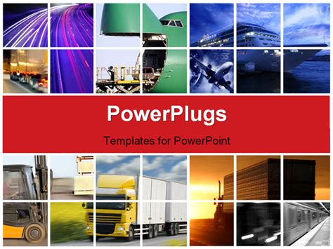 Powerpoint Template Transport Collage With Trucks And Logistics Ppt Template Free