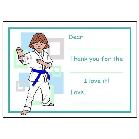 thank you letter to karate martial arts or karate fill in the blank thank you