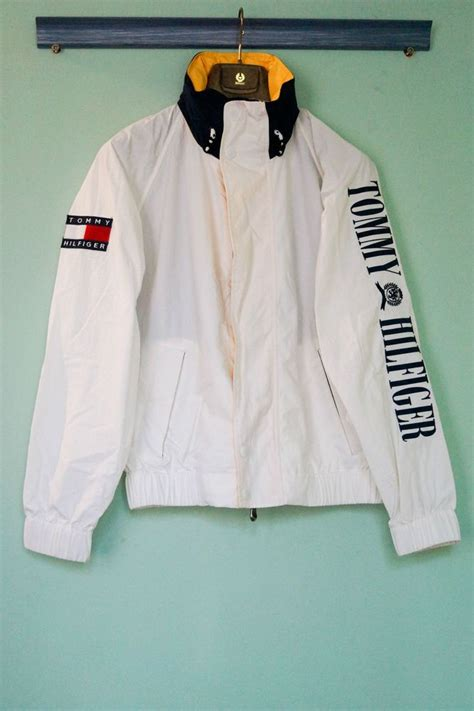 Jaket Sweater Hoodie Supreme Ch hilfiger vintage retro white 90s jacket size m hilfiger retro and vintage