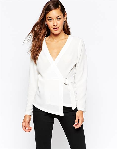 Blouse By D asos white wrap blouse with d ring lyst