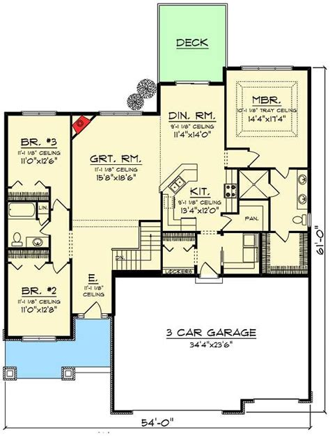 Open Floor Plan Craftsman by 3 Bed Craftsman Ranch With Open Concept Floor Plan