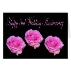 pink roses happy 3rd wedding anniversary card zazzle