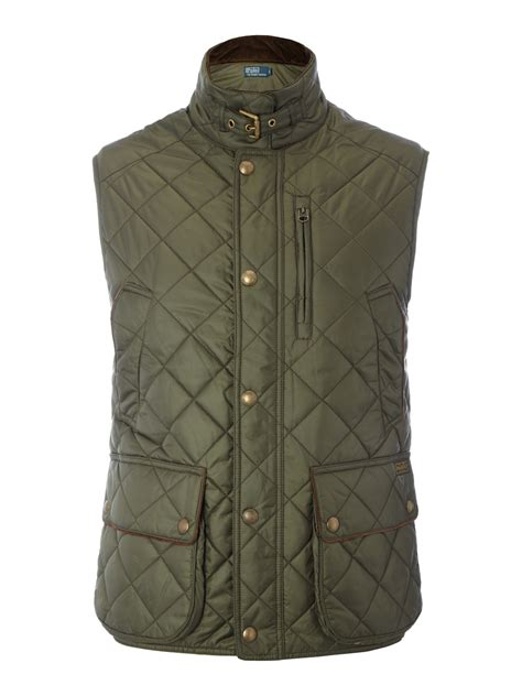polo ralph quilted vest in green for olive lyst