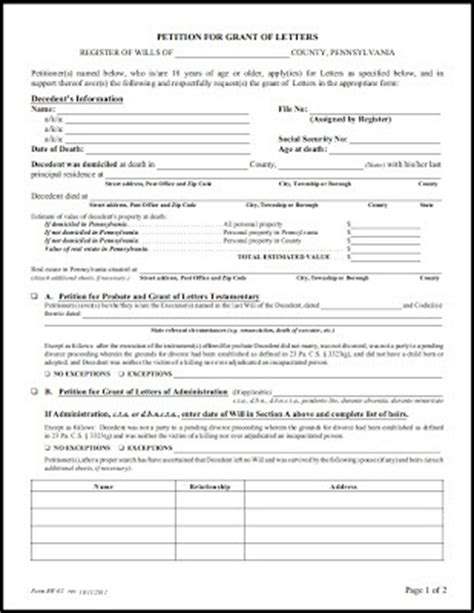 Petition Letter To Nepa Pa Elder Estate Fiduciary Revised Pa Rw 02 Quot Petition For Grant Of Letters Quot