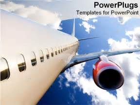 airplane powerpoint template airplane flying in bright blue sky powerpoint template