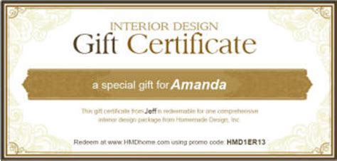 interior design gift certificate housewarming gift certificates for interior design