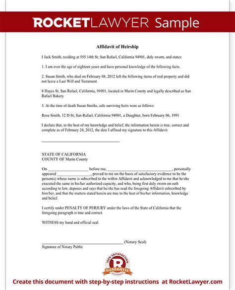 Affidavit Of Heirship Heirship Affidavit Form Template Affidavit Of Heirship Template