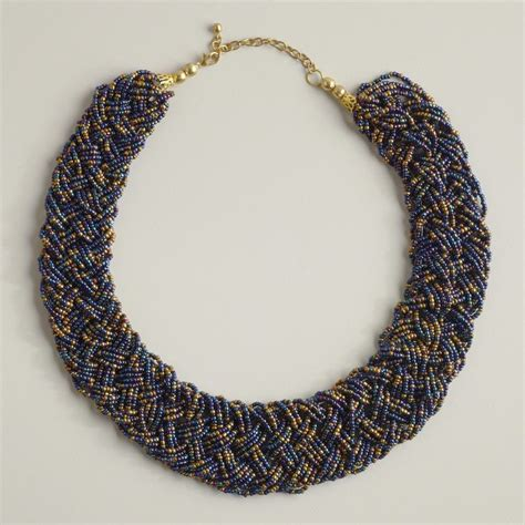beaded braided necklace braided seed bead necklace 4 strands jewelry