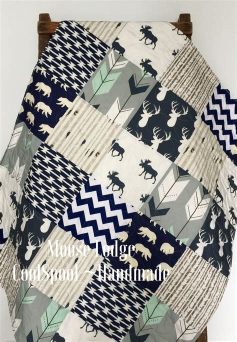 Navy Crib Quilt by Baby Quilt Boy Navy Gray Crib Bedding Woodland By Coolspool