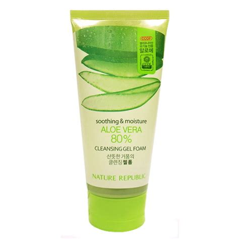 Nature Republic Soothing And Moisture Aloe Vera Cleansing Gel Foam etude ขายปล ก ส ง0 023 0 030 preorder nature republic soothing moisture aloe vera 80