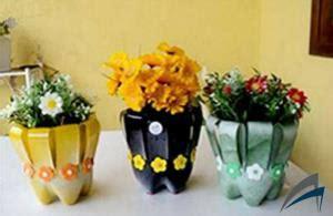 membuat vas bunga  botol plastik